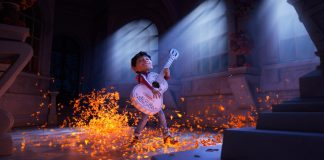 Coco's lead character, Miguel, playing the guitar.